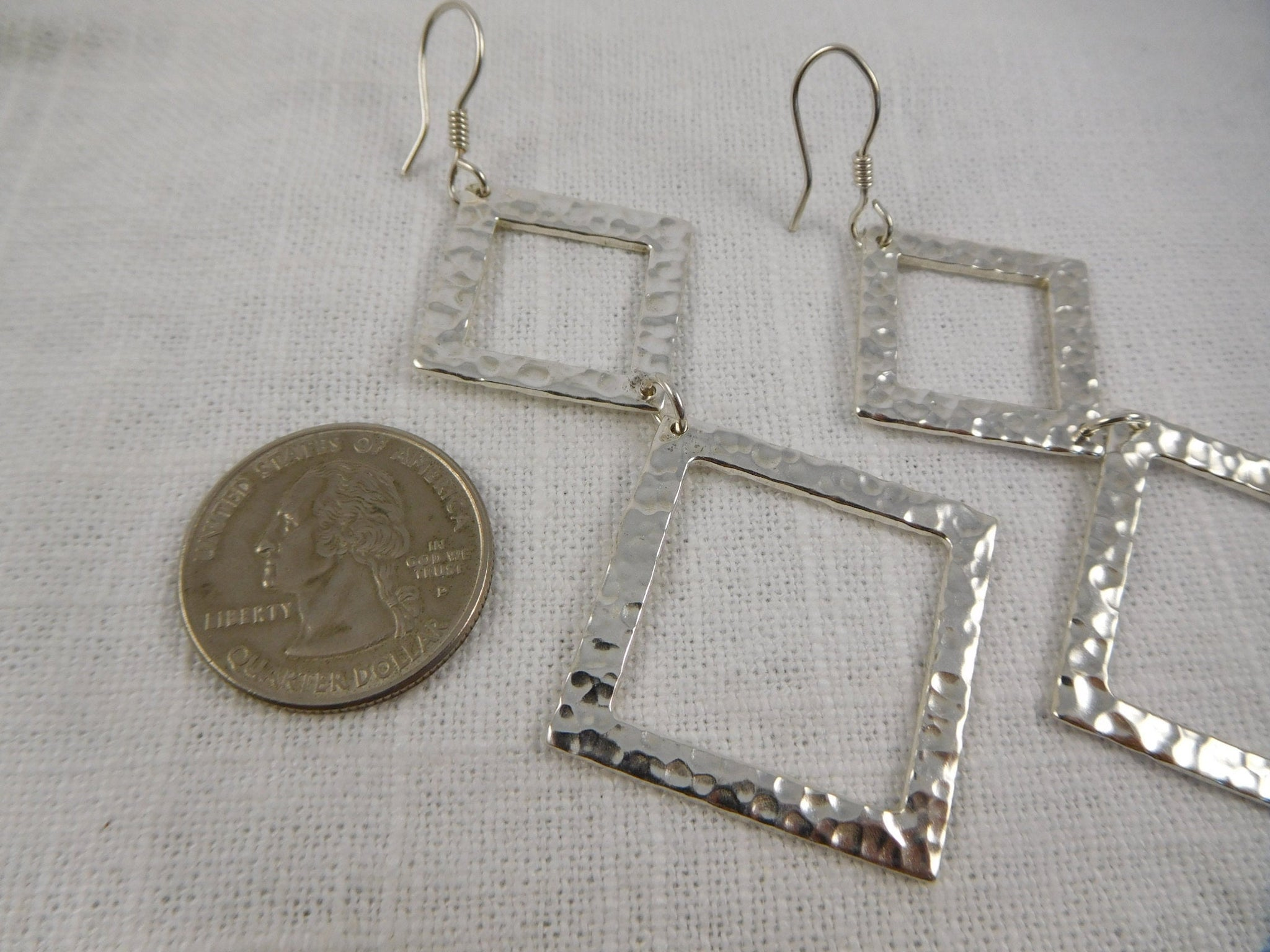Vintage Modern, Hammered Sterling Drop Earrings