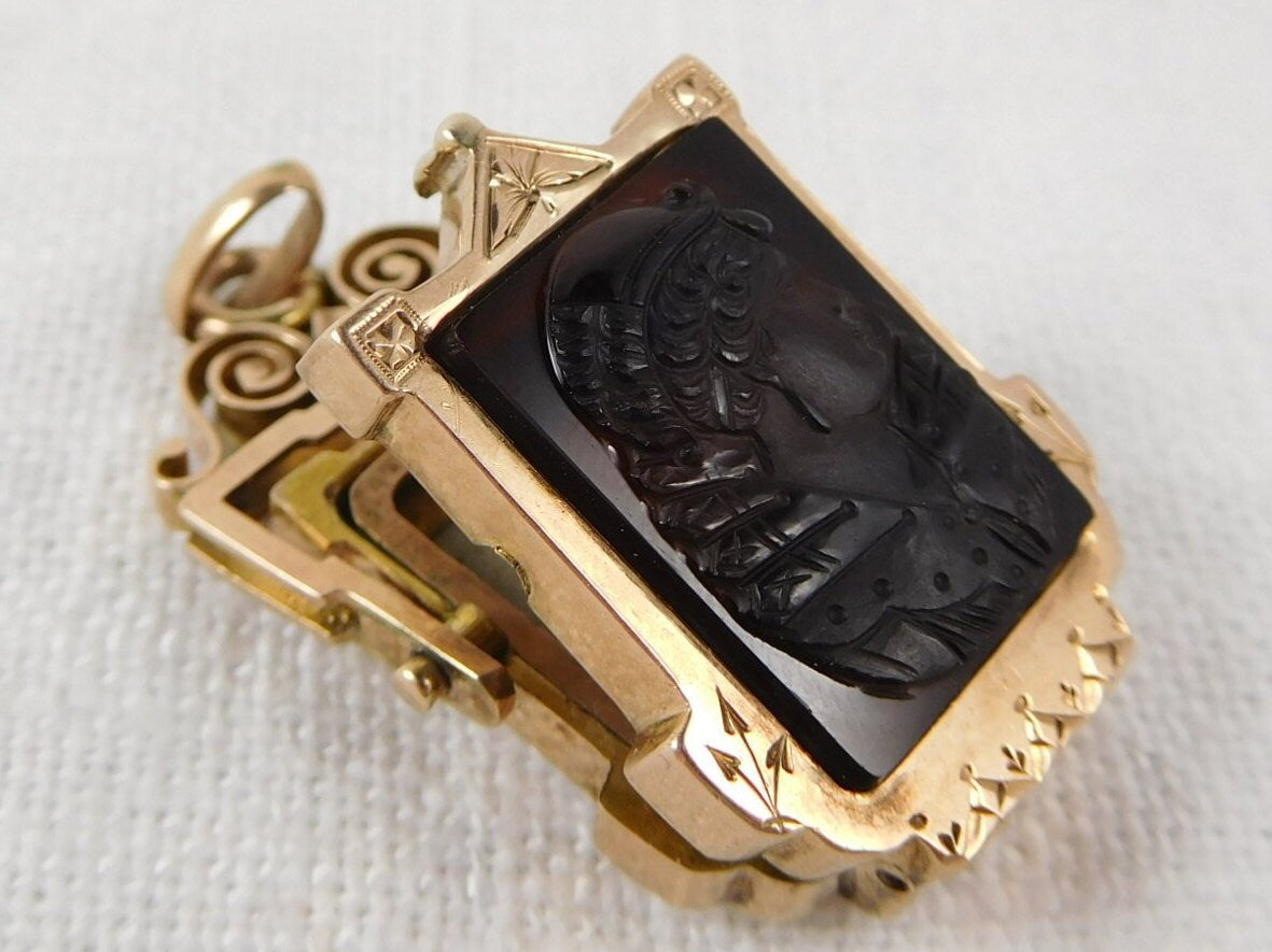 Antique 14k Gold, East Lake Victorian Double Sided, Engraved, Agate Cameo Flip Locket