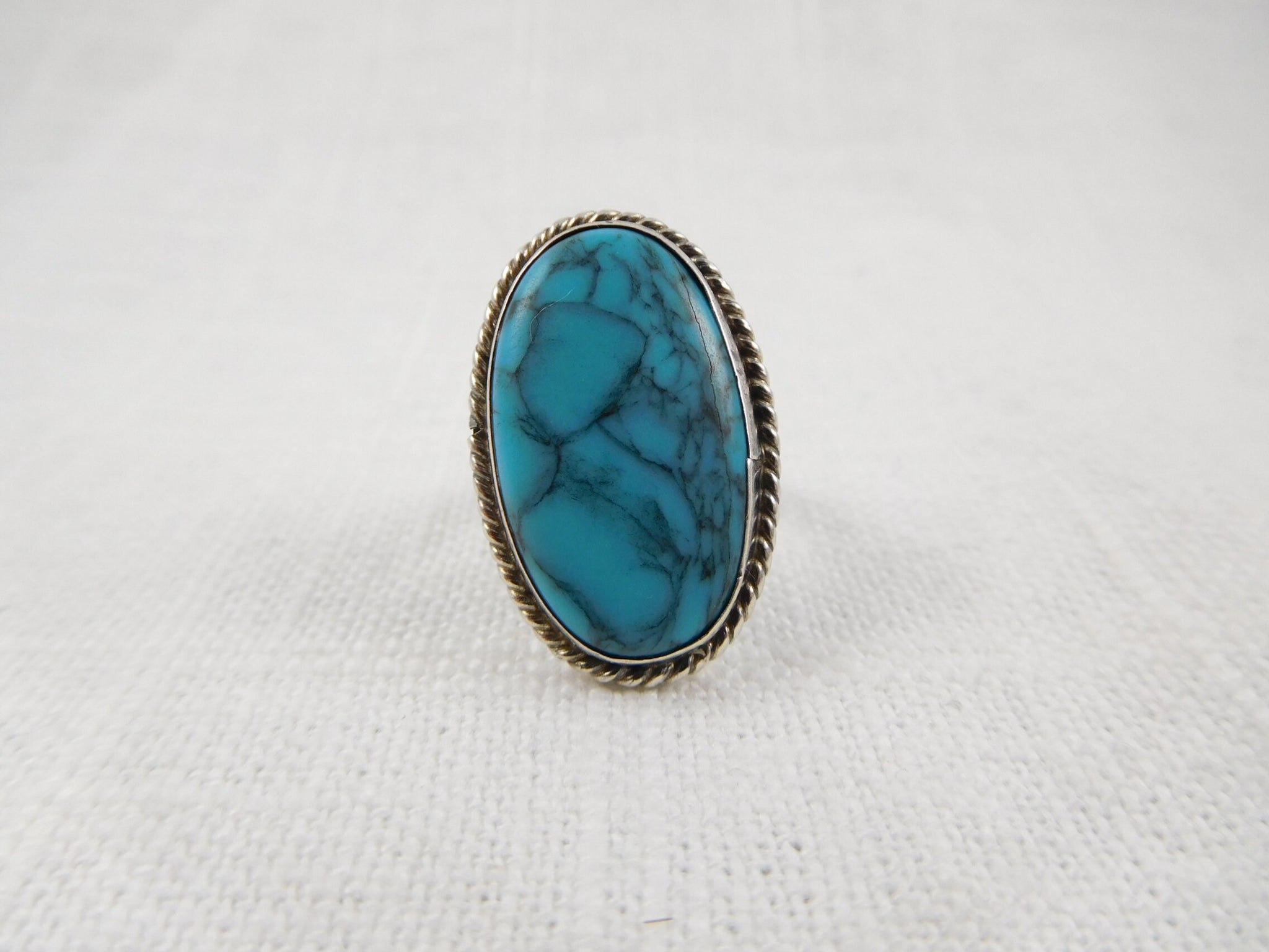 Size 5 Vintage Sterling and Synthetic Turquoise Ring