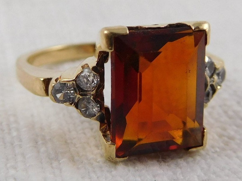 WW) Size 6.5 Vintage 10K Gold, Citrine and Spinel Ring