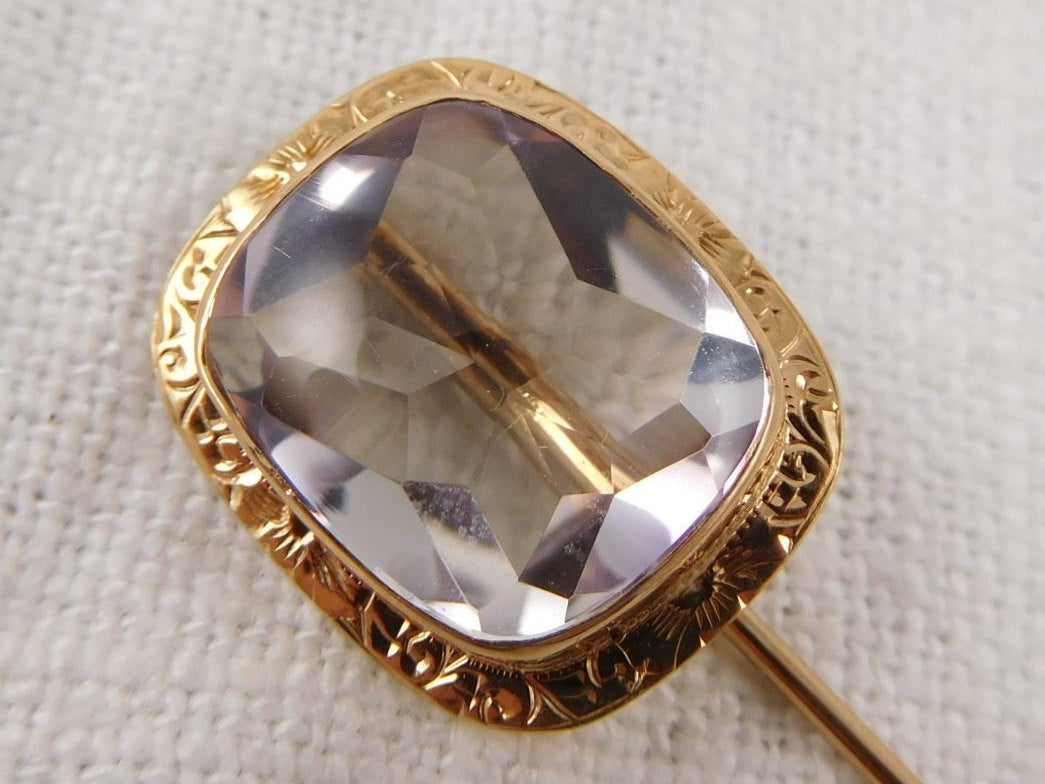 WW) Antique Victorian 14k Gold Rose de France Amethyst Stick Pin Brooch