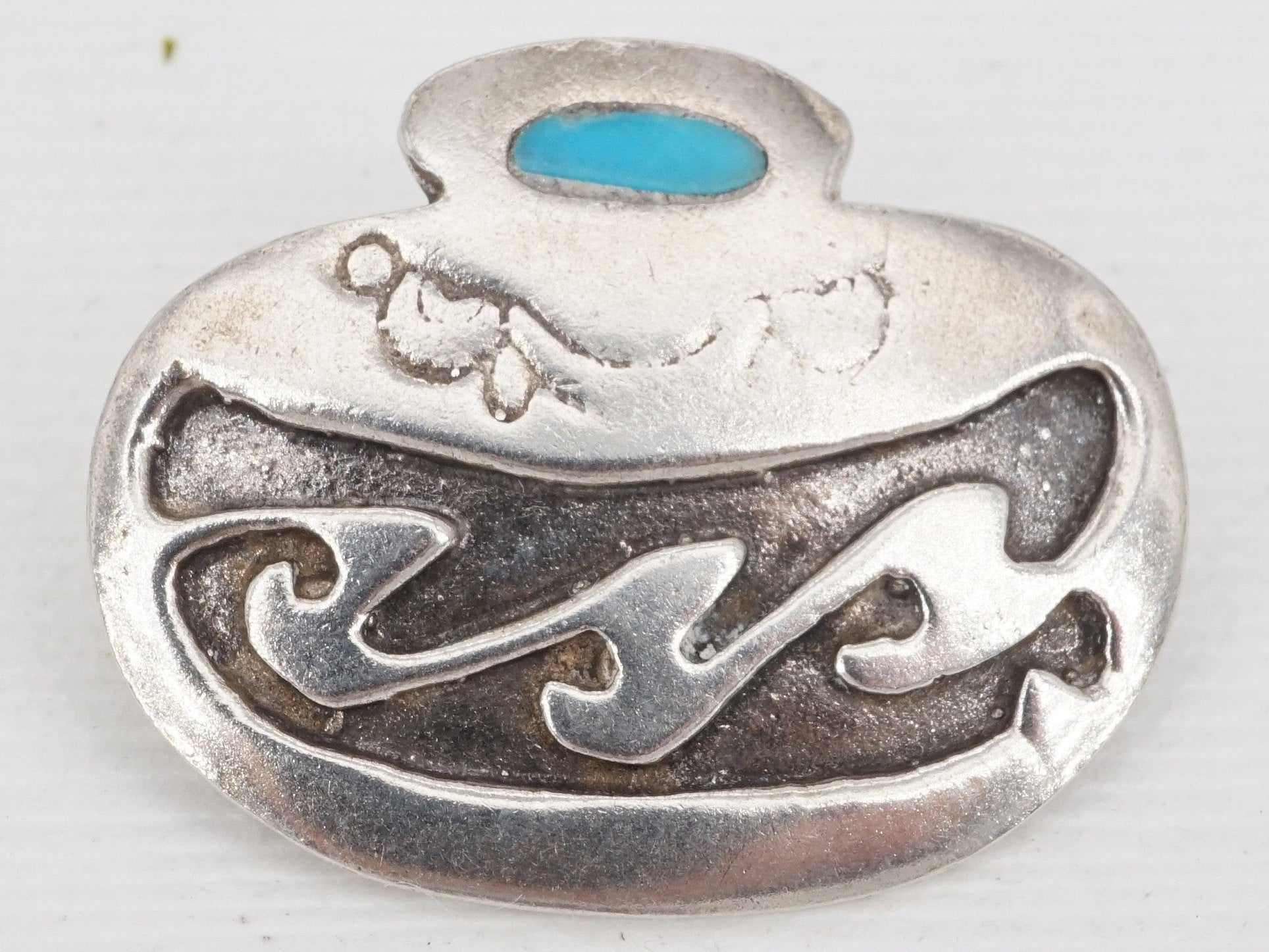 vintage native american sterling silver turquoise brooch