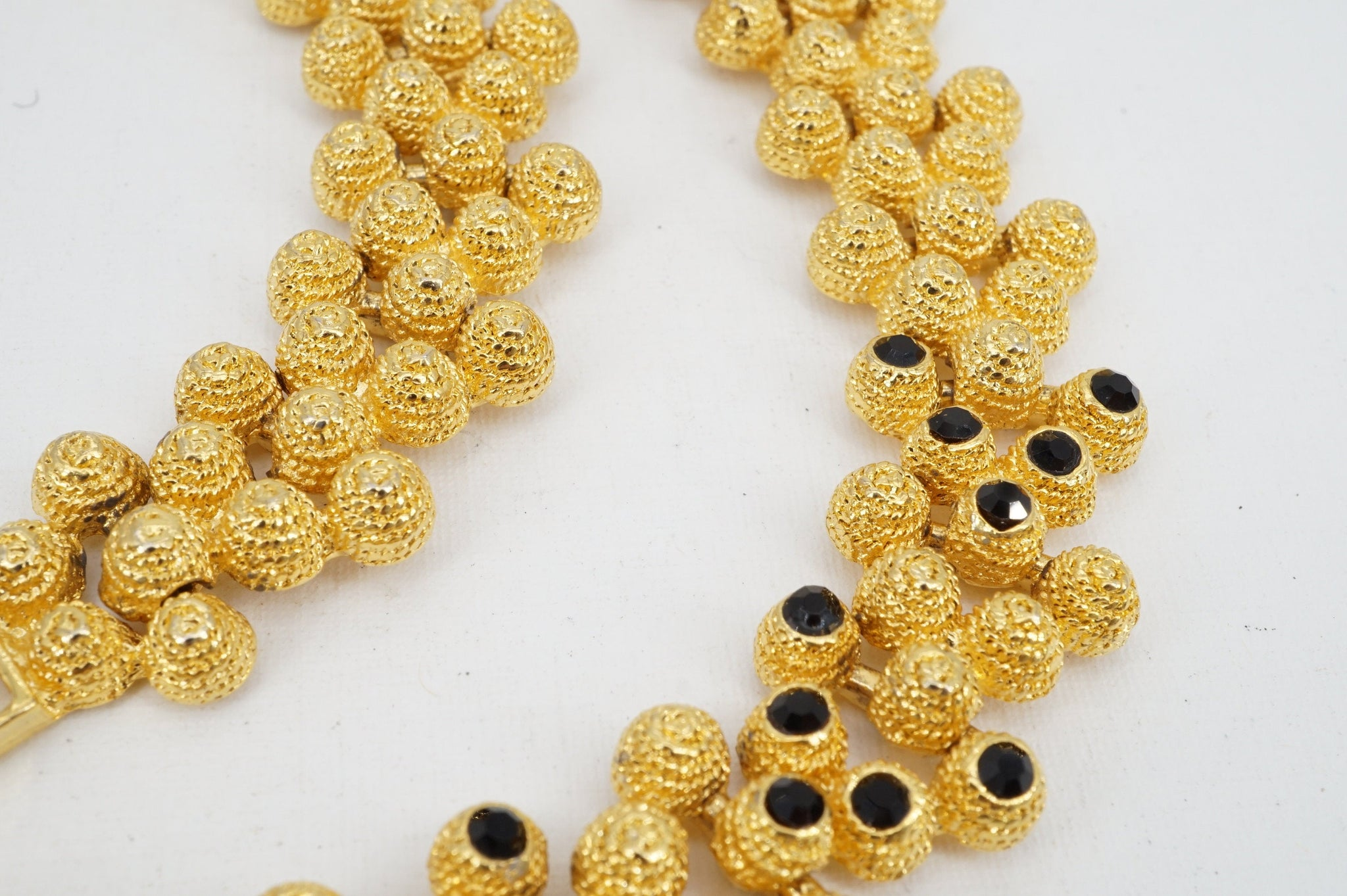 SALE ---- Vintage Gold Plated Textured Attached Bead Necklace