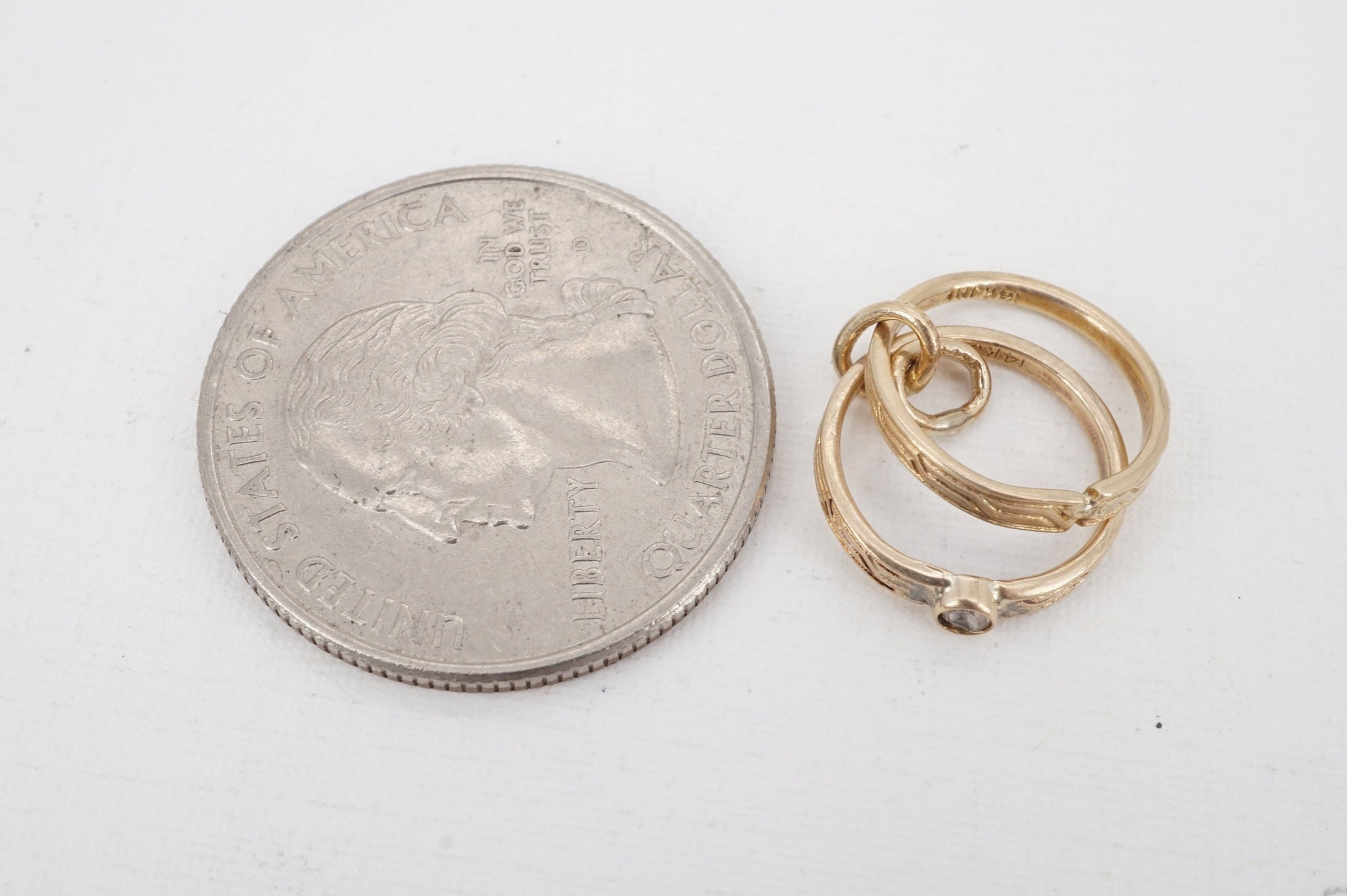 vintage JMF 14k gold glass wedding ring set charm - ww