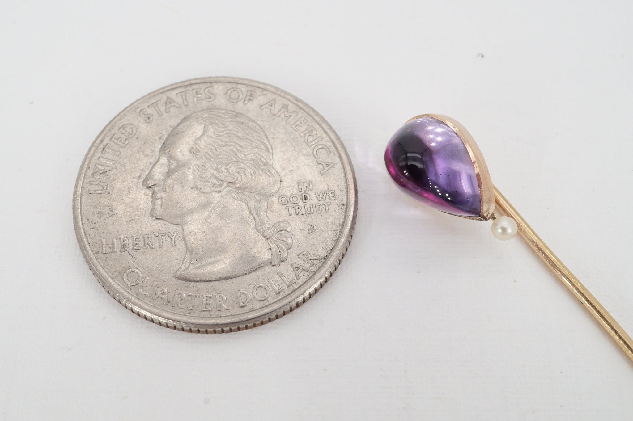 vintage 14k gold amethyst and pearl stick pin brooch - ww