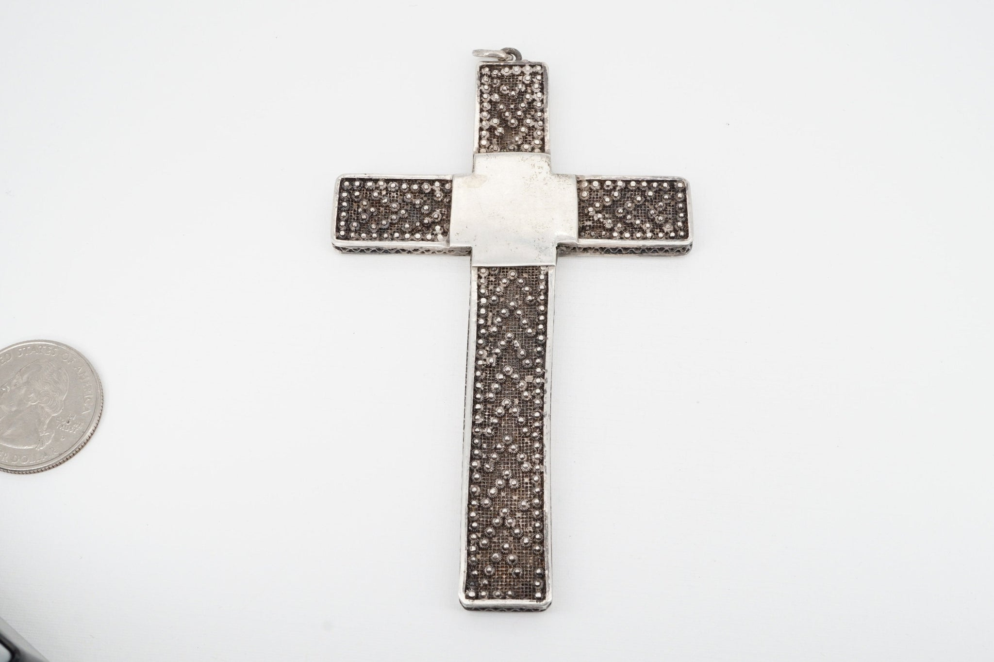 Huge Antique 3 Dimensional Filigree Sterling Cross Pendant