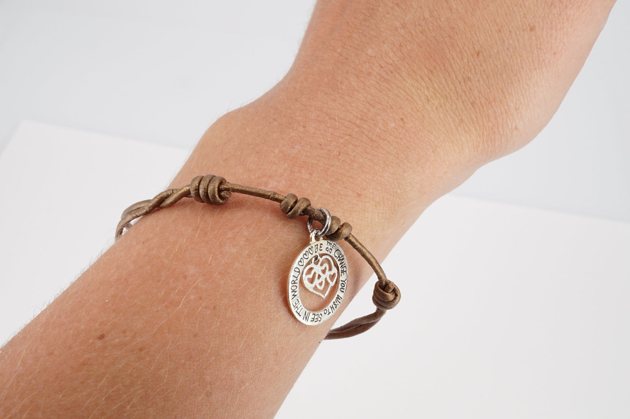 "vintage sterling ""be the change you wish to see in the world"" charm on bronze pained leather strap bracelet"