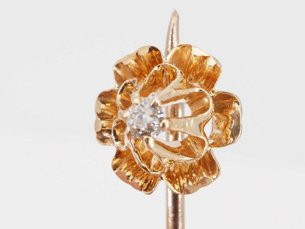 vintage 14k gold diamond stick pin - ww