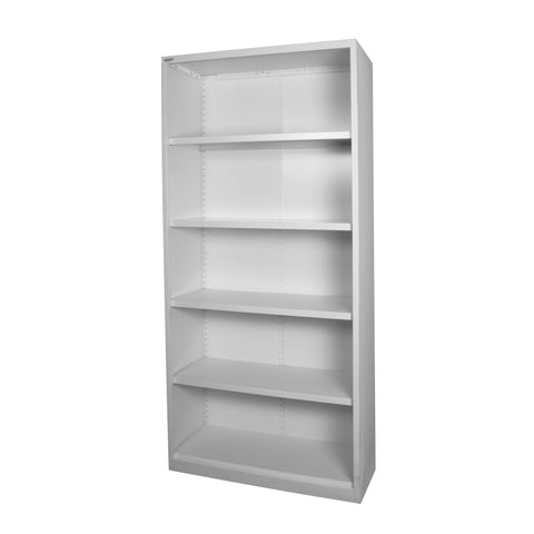 2000 high white satin bookcase with 4 adjustable shelves