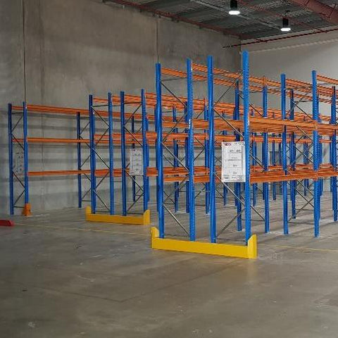 Installed Dexion Racking with End frame barrier
