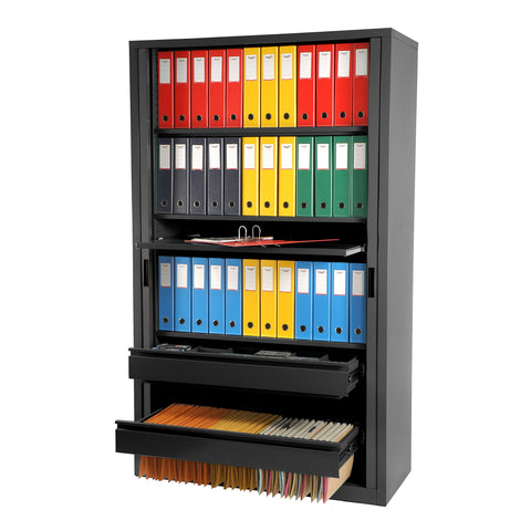 Graphite ripple Tambour door unit filled with multi coloured folders