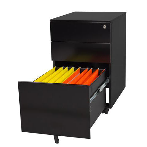 Black Trimline mobile pedestal with colourful files