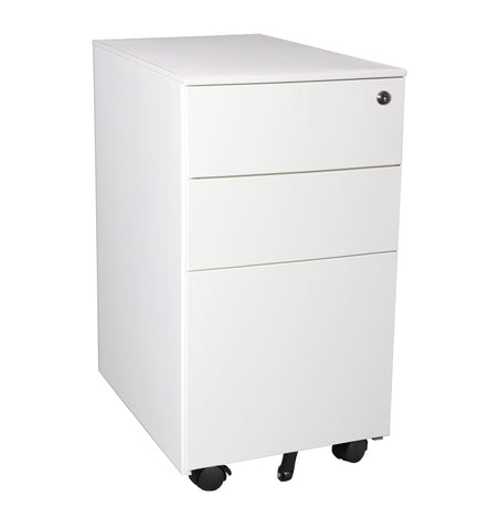 White Satin Slimline Steelco Mobile Pedestal closed
