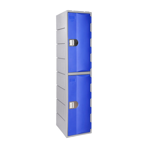Two tier plastic locker with blue doors and grey carcass