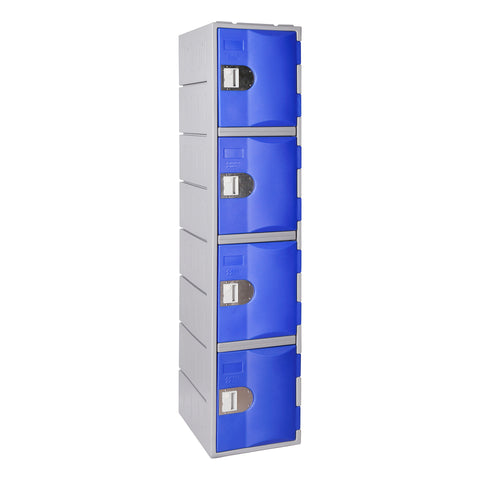 Four tier blue plastic locker