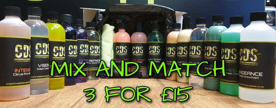CDS MIX AND MATCH 3 FOR £15 500ML BOTTLES + MICROFIBER CLOTH
