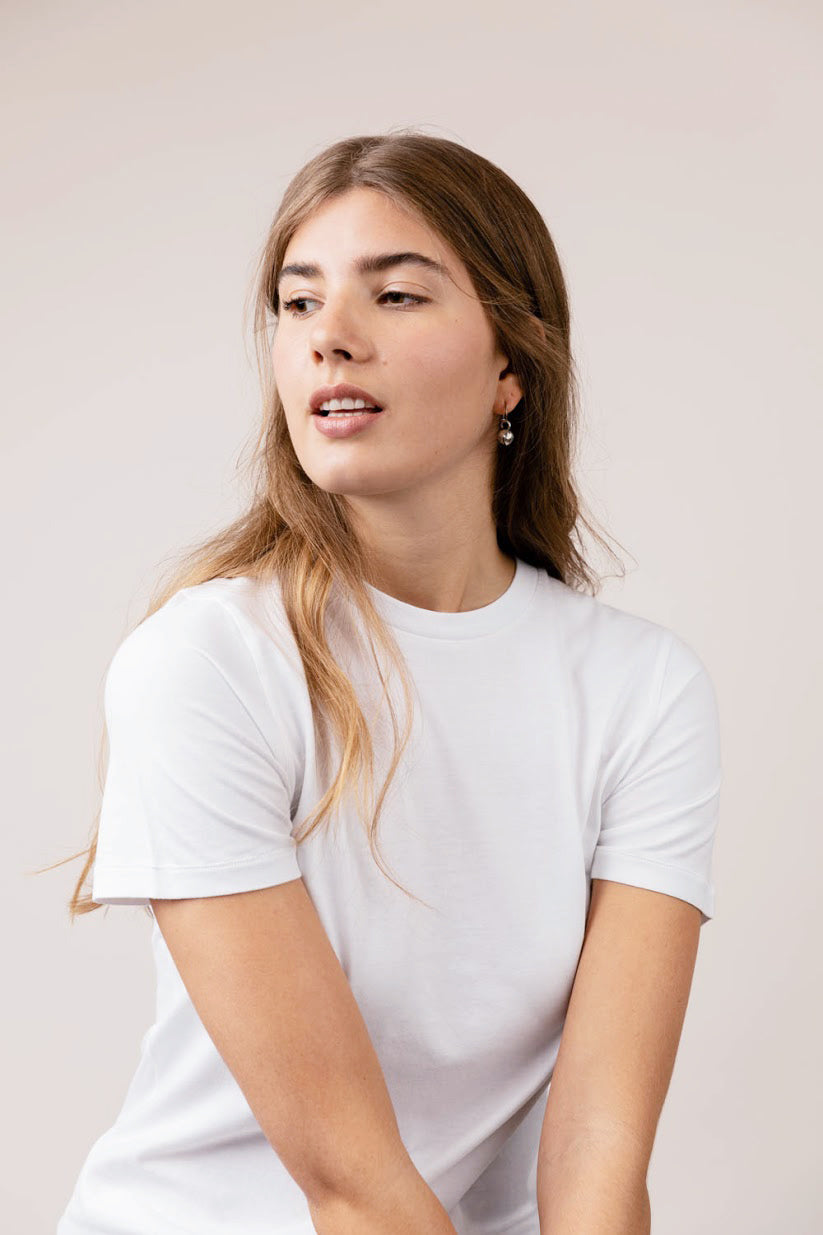 Lauren white round neck short sleeve t-shirt