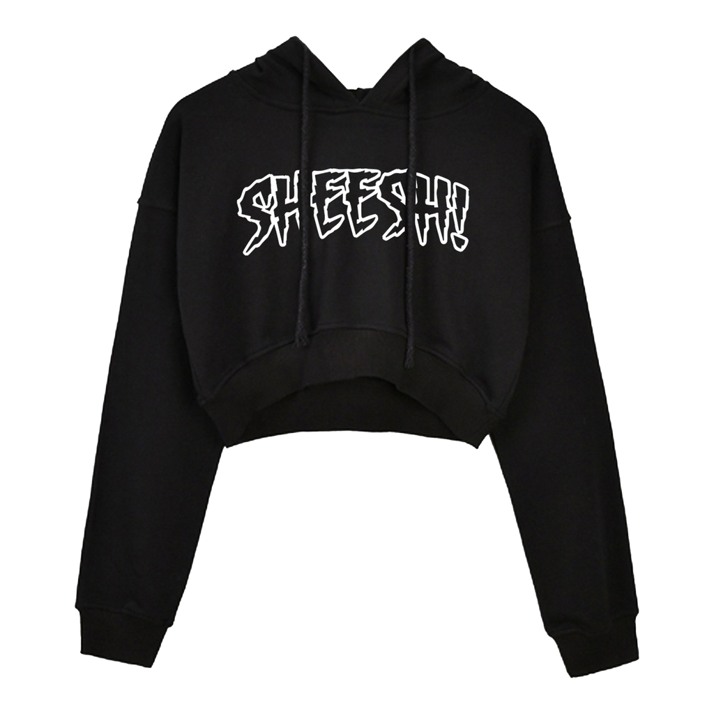 "Black + White ""SHEESH!"" Crop Hoodie"