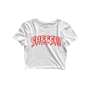 "White + Red ""SHEESH"" Crop"