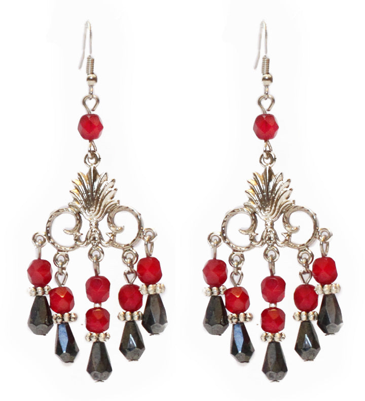 Deep Red & Gunmetal Teardrop Earrings