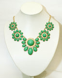 Flower Power Necklace- Green - Perle Jewellery & Makeup  - 2