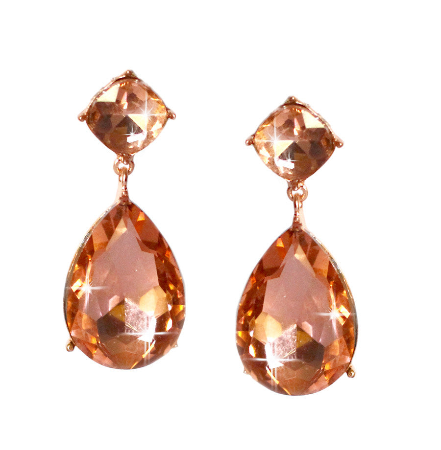 Sparkling Peach Crystal Earrings
