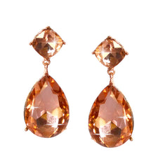 Sparkling Peach Crystal Earrings - Perle Jewellery & Makeup  - 1
