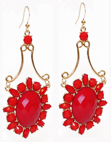 Extravagant Floral Earrings - Red