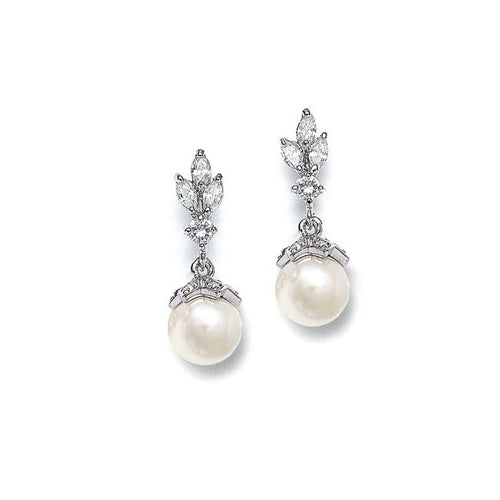 CZ Marquis Trio & Pearl Wedding Earring - Perle Jewellery & Makeup  - 1