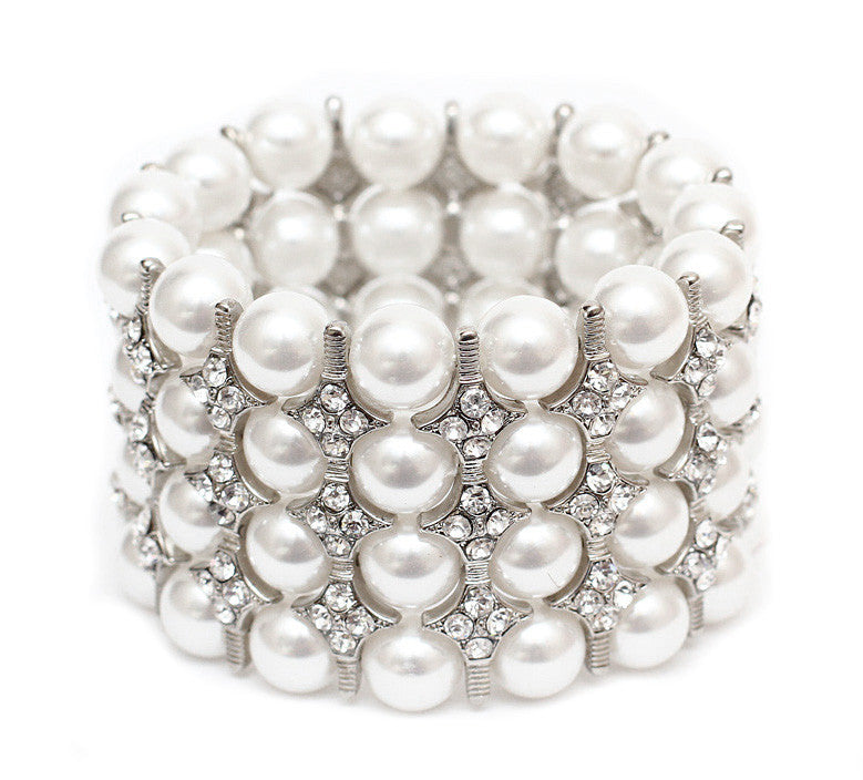 White Pearl & Silver Wedding Stretch Bracelet