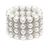 White Pearl & Silver Wedding Stretch Bracelet - Perle Jewellery & Makeup