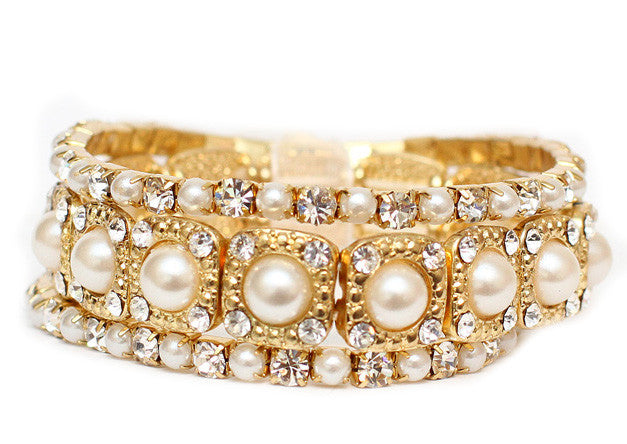 Ivory Pearl & Gold Stretch Bridal Bracelet Set - Perle Jewellery & Makeup  - 1