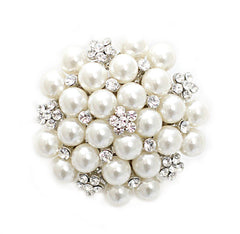Pearl Cluster Bridal Brooch with Crystal - Perle Jewellery & Makeup