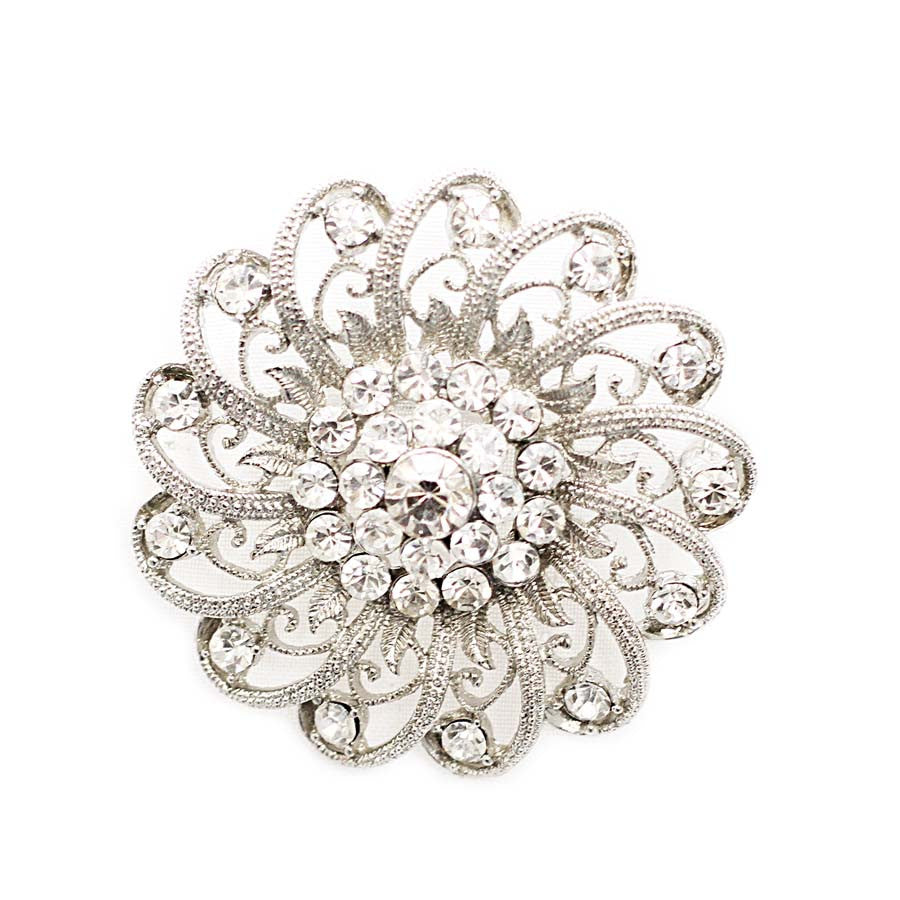 Crystal Brooch Pin with Filigree Spirals