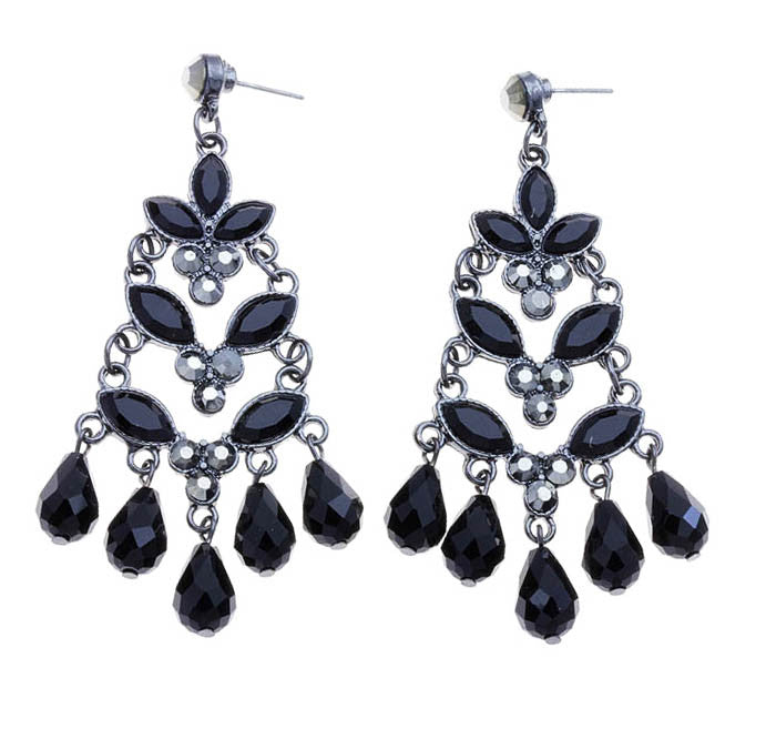 Navette Linked Teardrop Earrings - Black