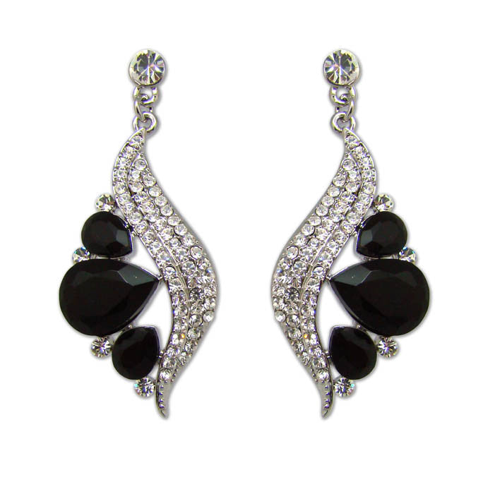 Feather Crystal Earrings - Black