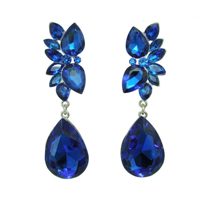 Teardrop Cluster Earrings - Sapphire Blue