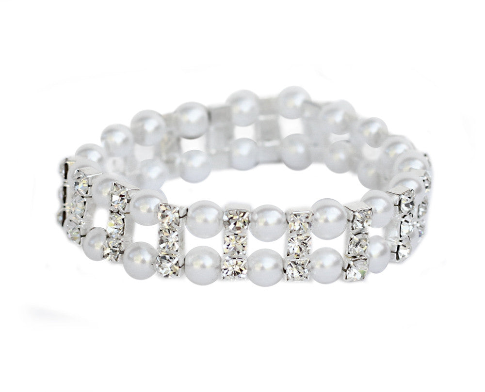 Pearl & Diamonte Stretch Bracelet