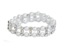 Pearl & Diamonte Stretch Bracelet - Perle Jewellery & Makeup