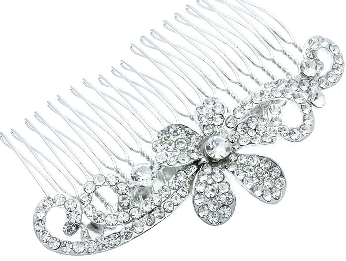 Floral Swirl Crystal Bridal Comb