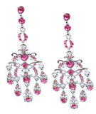 Linear Chandelier Earrings with Rose Teardrops - Perle Jewellery & Makeup