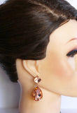 Sparkling Peach Crystal Earrings - Perle Jewellery & Makeup  - 2