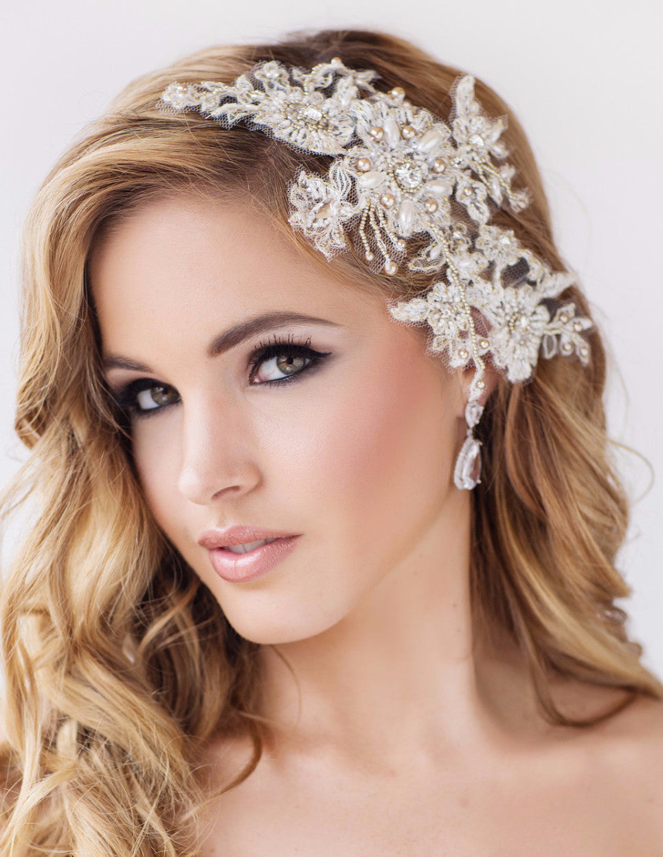 Gretel Lace & Pearl Headpiece - Perle Jewellery & Makeup  - 1