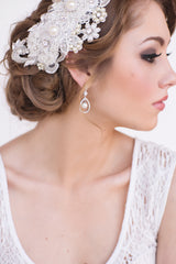 Pave CZ Wedding Earrings with Caged Pearl - Perle Jewellery & Makeup  - 2