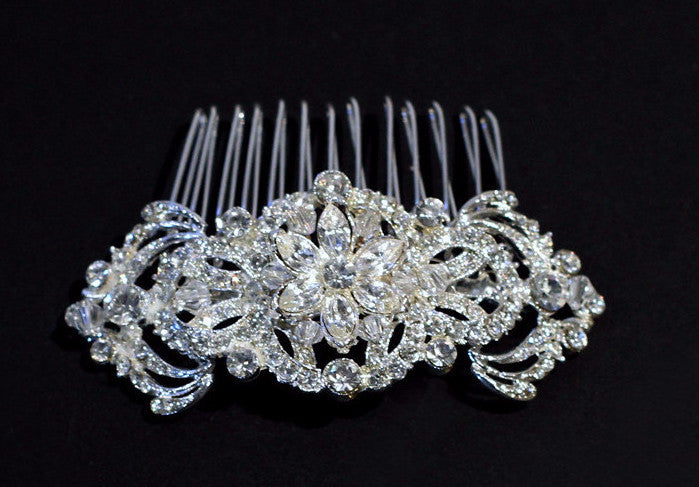 Polly Crystal Bridal Comb - Perle Jewellery & Makeup  - 1