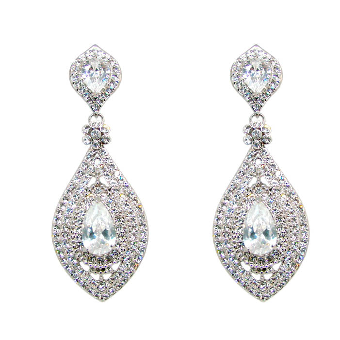 Art Deco Teardrop Earrings - Crystal