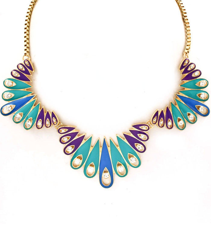 Jewel Flourish Necklace- Aqua - Perle Jewellery & Makeup  - 1