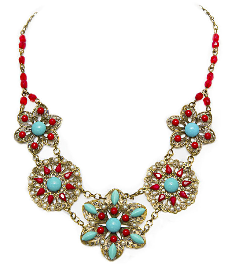Aqua & Red Antique Filigree Necklace