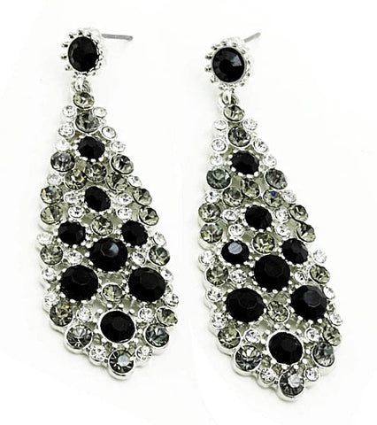 Filigree pendant earrings - Black