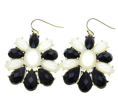 Faceted Petal Earrings -Black and white